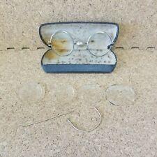 Antique Round Wire Rim Eyeglasses With Case - Damaged, For Parts 1/10 12k Gf