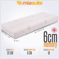 MATERASSO SINGOLO MEMORY SFODERABILE 90X190X25 CM PREMIUM MATERASSO 6 CM MEMORY