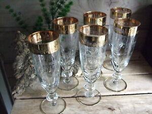 6 Viktorianische Sektgläser Sekt Gläser Sektkelch Kristall Schliff Gold Auflage