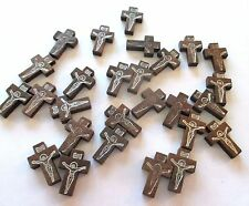 Wholesale Lot of 25 Small Wood Crucifixes, 7/8 Inch, Holes for Necklace Cords