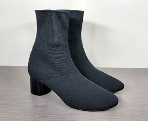 Vince Tasha Rib-Knit Cylinder Heel Sock Booties, Black, Womens Size 9 US / 39