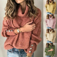 US Women Autumn Long Sleeve Knitted Sweater Jumper Turtleneck Chunky Knitted Top