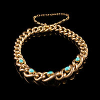 ANTIQUE VICTORIAN TURQUOISE FORGET ME NOT BRACELET 9CT ROSE GOLD CIRCA 1900