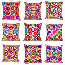 White Indian Ethnic Mirror Embroidery Suzani Rangoli Boho Cushion Covers 40cm