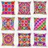 "White Indian Ethnic Mirror Embroidery Suzani Rangoli Cushion Covers 16""x16"" UK"