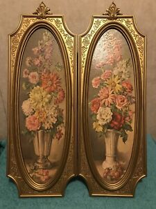 VTG 2 (Set)HOMCO HOME INTERIOR Beautiful Flowers IN VASE PICTURE WITH GOLD FRAME