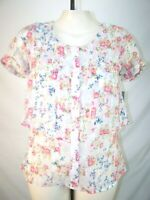 NY Collection Multi Color Floral Short Sleeve Button Blouse Womens Sz Small TOP