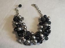 Silver Hearts 7.5-9 x 1 1/4 Wide Beautiful Bracelet Silver Tone Black Gray Beads