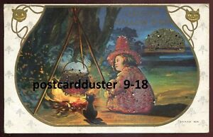 *111 - HALLOWEEN 1910s Embossed Witch & Black Cat. Fire. Beads