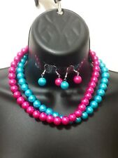 Purple Blue Bead Beaded Statement Lot Of 2 Necklace Set Earrings Strand String
