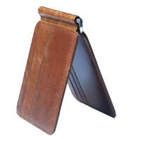Slim Bifold Wallet Money Clip Travel Wallet Minimalist ID Card Holder Brown