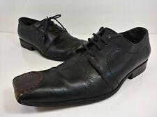 Bacco Bucci Vintage Lace Up Square Toe Black Pirate Shoes Men's Size 11 M *Rare*