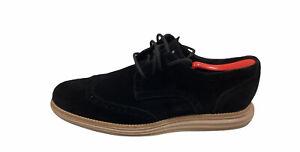 Cole Haan Lunargrand Men's Shoes Black Suede with Beige Bottom US Size 10 M