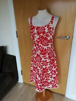 Ladies Dress Size 10 12 Red White Summer Sun Holiday Smart Casual Day