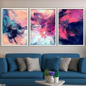 SET of 3 Framed Abstract Pink Purple Contemporary Wall Art Decor Print Poster