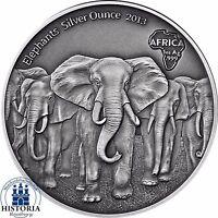 ELEPHANT HERD SILVER OUNCE 2013 - Ghana 5 Cedis antique finish 1 Oz .999 Coin