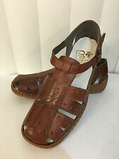 Rieker Ariane Brown Leather Antistress Strap Cushioned Sandals Size 36 (US 5.5)