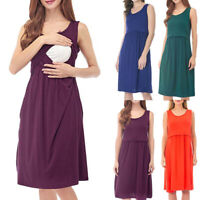 Women Pregnant Summer Maternity Nursing Beach Casual Solid Vest Sleeveless Dress