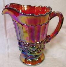 Red Carnival Glass Eyewinker Pattern Water Pitcher