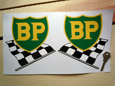 "BP 58-89 Style Shield & Chequered Flags Car STICKERS 6"" Pair Race Rally Petrol"
