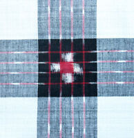Double Ikat Cotton. Hand-Dyed & Hand-Woven. Black, White, Red. Orissa Fabric
