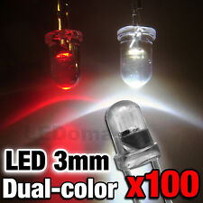 710/100# LED 3mm bicolor Red and white  -- dual polarity