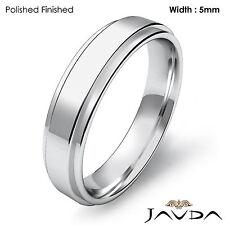 Wedding Band Flat Step Solid Ring Women Plain 5mm 18k White Gold 5.9gm Sz 7-7.75