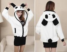 Warm Winter Fleece Cute Cartoon Panda Hoodie With Ear Hooded Coat Jacket Outwear