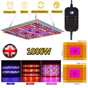1000W LED Grow Light Full Spectrum IR UV w/Timer for Indoor Plant Veg Flower UK