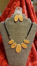 Necklace w/ Free Matching Earrings Silver Paparazzi Wooden Ovals On Faux Leather