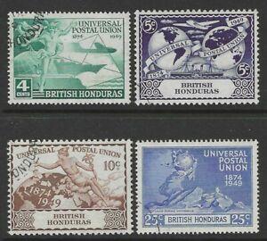 BRITISH HONDURAS 1949 KING GEORGE VI UPU SET SG172-175 - GOOD USED