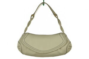 Cole Haan Womens Handbag Size S Ivory Textured Leather Hobo Purse Casual