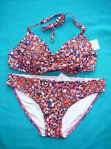 NEXT Bikini 36DD/E Push Up Plunge Top & Size 14 Bottoms BNWTS