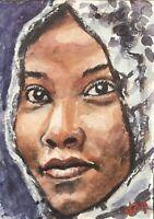 """Aceo Original Watercolor Portrait Painting  Art Card  """"woman's Portrait"""""""