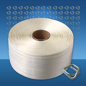 Polyesterband Umreifungsset 19 mm, 600 m Umreifungsband Metallverschlussklemmen