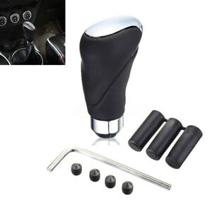 Black Leather Car SUV Manual/Automatic Knob Gear Shift Head Shifter Lever Stick