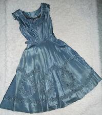 Vintage 1950s Slate Blue Acetate Party Dress Sz S M Ruffle Soutache Full Skirt
