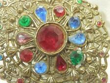 Amazing Vintage 1920's Colorful Rhinestone Deco Flower Brass Brooch  403F9
