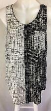 JENDI Button Front Longline Sleeveless Blouse Black White Relaxed NWT Size 12