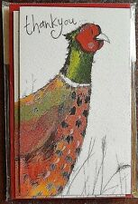 THANK YOU - Pack of 5 Cards/Notelets with Envelopes - Sparkly, Glitter Pheasant