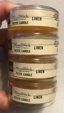 Lot of 4 WoodWick Linen Scented Petite Candles