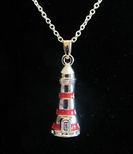 "18""  925 Sterling Silver Chain Red Lighthouse Ocean Beach Pendant Necklace"