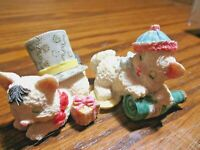 """Set (2) Small 1.75"""" Resin Kitten Cats Playing Presents & Bottle Wearing Cap  510"""