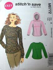 Miss Men McCall 6772 Pattern Sweatshirt W/WO Hood UC Size 34-36-38-40-42-44