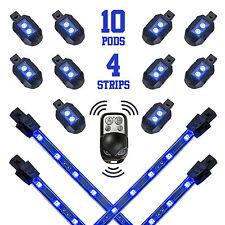 2ND GEN 10 POD 4 STIP LED MOTORCYCLE/CAR NEON Light HARLEY REMOTE KIT - BLUE