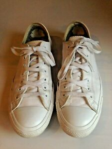 Converse All Star Mens White Leather Trainers Low-Tops UK 10
