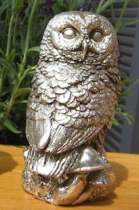 Eule Uhu Käuzchen Wald Natur Eulefigur Owl Silber Figur Silbern
