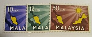 MALAYSIA Sc #1 2 3 set ** MNH, map, postage stamps, Fine +
