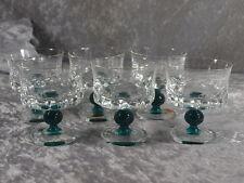 Friedrich Glas Kristallglas 6x Likörschale Stiel grüne Kugel mundgeblasen 60er