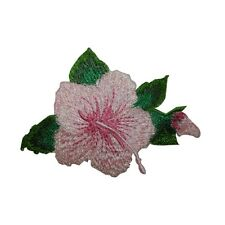 ID 6344 Pink Hibiscus Flower Blossom Patch Tropical Embroidered Iron On Applique